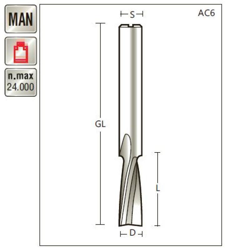 VHM Spiralfräser D 6 x SL 19 x Schaft 6mm , Z=2 , positiv Titman-AC6-6