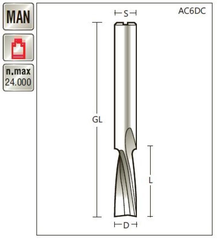 VHM Spiralfräser D 4 x SL 14 x Schaft 6mm , Z=2 , negativ Titman-AC4DC-6