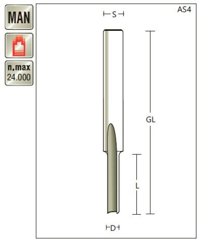 VHM Nutfräser D 4 x SL 12 x Schaft 6mm , Z=1 , für Kunststoffbearbeitung Titman-AS4-6